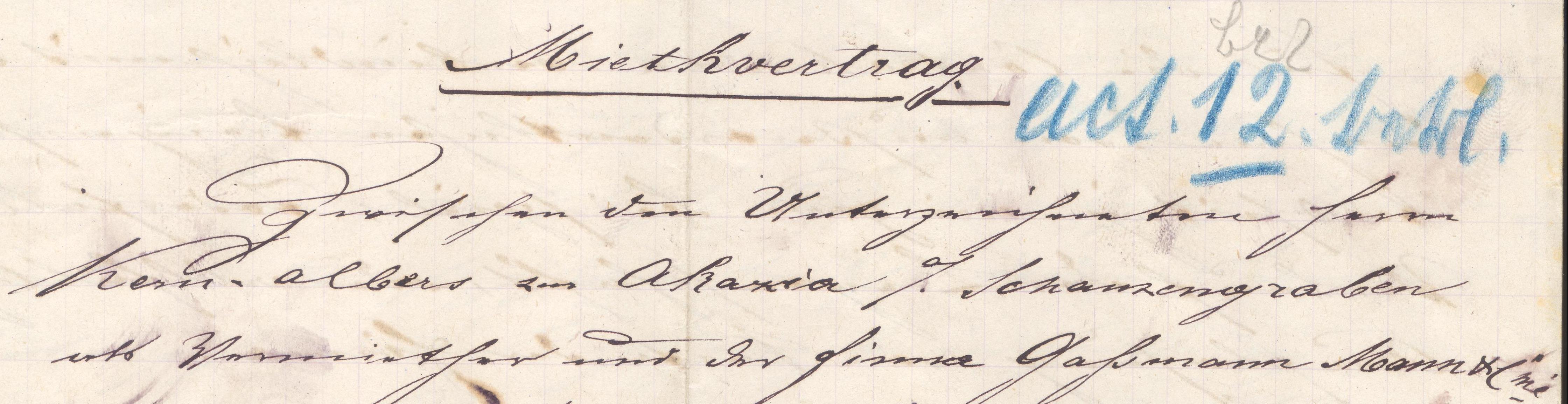 Erster Mietvertrag von 1882